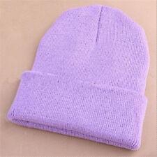 Men's Women Beanie Knit Ski Cap Hip-hop Blank Color Winter Warm Unisex Wool Hat Light Purple