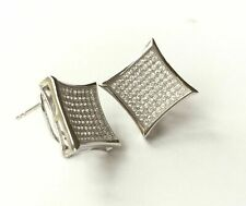 Mens Real Sterling Silver 925 Extra Large CZ Micro Pave Omega Clip Earrings 18mm