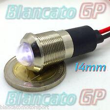 SPIA LED BIANCO 12V DC METALLO TONDO 14mm auto moto camper segnalatore lampada