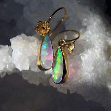 synth. white crystal opal  ohrringe, 925 silber vergoldet