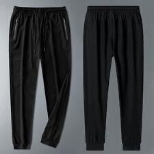 Men's black stretch jogging tapered pants jogging drawstring zipper trousers