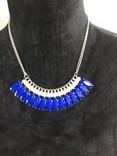 Royal Blue Plastic Gem Rhinestone Bib Drop Collar Statement Queen Necklace
