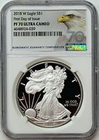 2018 W $1 Proof Silver Eagle NGC PF70 Ultra Cameo First Day of Issue