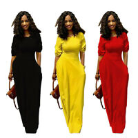 Fashion Women Short Sleeves Pockets Casual Cocktail Party Slim Maxi Long Dress
