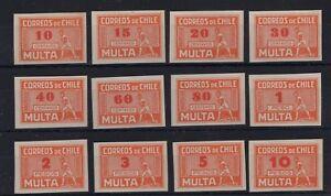 CHILE Caupolican due stamps orange full set UNUSED NO gum red overprint