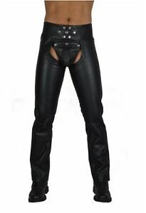 AW773 Long ZIPPER LEATHER CHAPS SNAPS CLOSURE,CUIR CHAPS/LEATHER BIKER TROUSERS
