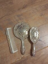 Vanity Set Silver Plated Hair Brush Comb Hand Mirror Vintage 3 Piece Set Antique