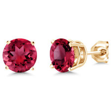 2.00 Ct 925 Silver Yellow Gold Plated Created Red Ruby Stud Earrings 6mm