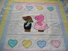 Hand made baby quilt Sun Bonnet Sam & Sue Precious Moments cotton Pastels #17