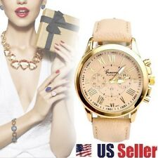 NEW BEIGE FASHION CASUAL NUMERALS LEATHER ROMAN UNISEX ANALOG QUARTZ WATCH