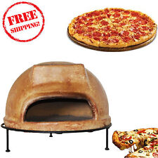 "Ravenna Rustic Liso Clay Pizza Oven Wood Taste 10"" Pizza Patio Garden Cooking"