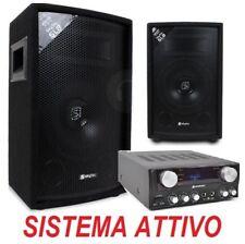 SISTEMA AUDIO IMPIANTO KARAOKE CASA HI-FI AMPLIFICATORE + 2 CASSE + CAVI neo dj
