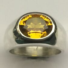 MJG STERLING SILVER MEN'S RING. 12 X 10MM OVAL LAB GOLDEN TOPAZ.  SZ 10 1/2