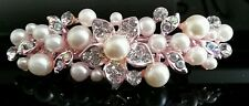 Beautiful Vintage Rose Gold Flower Crystal & Pearl Hair Clip Bridal Prom Wedding