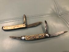 Lot of 2 Vintage COLONIAL Folding Pocket Knife Stag 2 and 3 Blade
