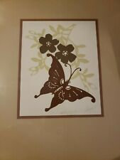 Vintage Mid Century Butterfly Floral Framed Art Signed Tan Brown Beautiful Simpl