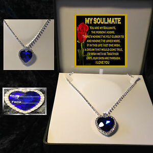 MY SOULMATE LARGE BLUE CRYSTAL HEART NECKLACE LUXURY BOX  GIFT BIRTHDAY