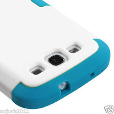 SAMSUNG GALAXY S3 i9300 i747 HARD SNAP ON HYBRID TUFF CASE WHITE BLUE