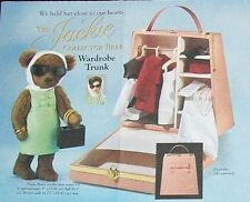 NIB FRANKLIN MINT DOLL JACKIE BEAR + NIB ENSEMBLE + WARDROBE TRUNK Preowned