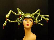 "Hat "" MEDUSA "" Green Metallic Poseable SNAKE HEAD DRESS Costume Accessory Elope"