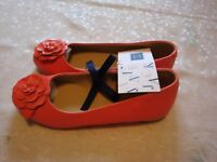 NWT $62 Janie And Jack Girls Bloom Leather Flat Shoes 2K  Coral