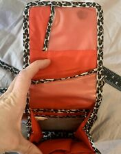 Travelon Leopard Print W/ Red Lining Crossbody Purse Pouch Pockets & Storage