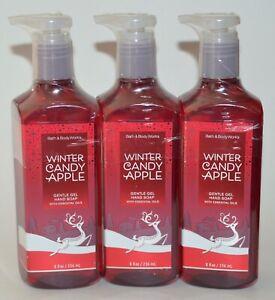 3 BATH & BODY WORKS WINTER CANDY APPLE GENTLE GEL HAND SOAP WASH ESSENTIAL OILS