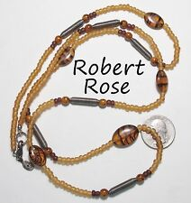 Signed ROBERT ROSE Necklace, Amber & Brown Faux Tortoiseshell Glass Beads, 37""