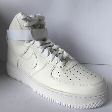 Da Uomo Nike Air Force 1 High 07 Taglia 12 EUR 47.5 (315121 115) triplo in pelle bianca