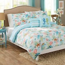 Blue Green Seashell Beach House 6 Pc Full / Queen Comforter Shams & Toss Pillows