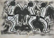 """JULIETTE PITA VANUATU FRANCE INK WASH """"CUSTOM DANCERS"""" C 1990"""