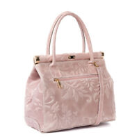 Italian pink floral tooled calf leather satchel & handbag STUNNING!!
