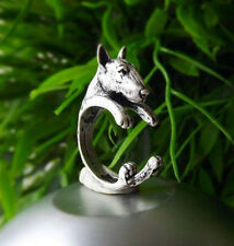 SALE Cute Vintage Silver Adjustable Detailed Bull Terrier Dog Animal Ring