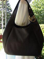 $398 MICHAEL KORS FULTON Black Large Shoulder Tote Handbag Purse Leather Bag