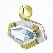 Anhänger, Unikat, 750/18k Gold, Aquamarin  ca. 5,62 ct.,Brillant , Handarbeit