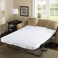 Folding Sofa Bed Mattress Sleeper Casters Pad Lounge Water Resist Full White