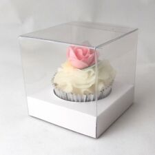 Clear Single Cupcake boxes: 90mm : optional white inserts - premium quality