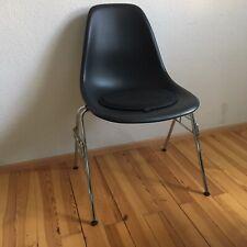 Vitra Eames Plastic Side Chair DSS Stuhl schwarz dark black Chrom mit Sitzkissen