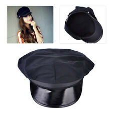 Black Octagon Yacht Captain Skipper Police Sheriff Hat Cap Party Costume Cosplay