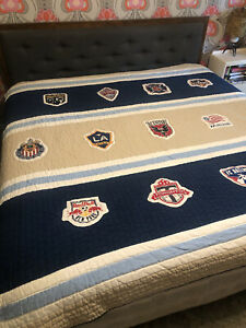 RARE Pottery Barn Teen MLS Major League Soccer Quilt Bedspread 86x86 EUC 1996