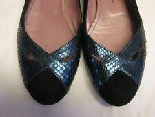 JEAN-MICHEL CAZABAT. Snakeskin Suede Navy Blue Ballet Flats Sz 37.5 $245 Shopbop