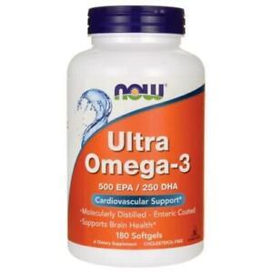 NOW FOODS ULTRA OMEGA-3 500EPA / 250 DHA FISH OIL -180 SOFTGELS HGEART HEALTH