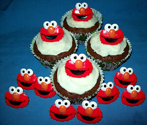 SESAME STREET ELMO FACE CHARACTER RINGS FOR DECORATING CUPCAKES - Pack of 12