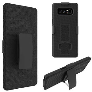 For Samsung Galaxy Note 8 - HARD HOLSTER KICKSTAND CASE COVER w/ BELT CLIP BLACK