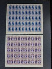 L) n. 2 Fogli francobolli Santa Caterina Repubblica lire 10 e lire 5 usati