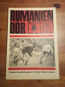 18.11.1967 DDR-Rumänien  Programmheft Ausscheidung Olympia Qualifikation