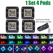 """4x 3"""" 24W CREE LED Work Spot Light Cube Pods w/ RGB HALO Color Change & Chasing"""