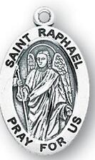 "MRT St Raphael Pray for Us Archangel Sterling Silver 3/4"" Medal 20"" Chain Gift"