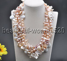 Z7750 5Strds Pink White  baroque & coin & biwa & Rice FW pearl necklace 19inch