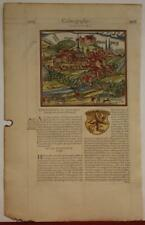 MARBURG GERMANY 1575 BELLEFOREST ANTIQUE ORIGINAL WOODCUT VIEW FRENCH EDITION